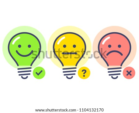 es? No? Maybe. Light bulb cute character. Vector illustration.
