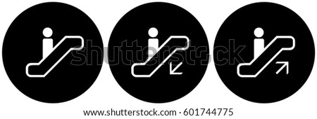 Escalator Signs Set Black. Vector.