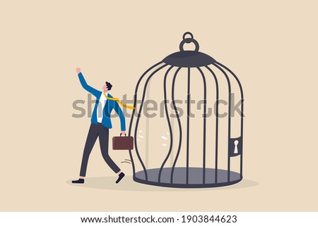 Escape from routine comfort zone, change to experience new challenge or break free for freedom concept, strong ambitious businessman bended the bar and escape from bird cage trap. Foto stock ©