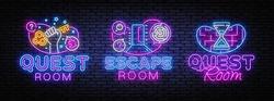 Escape Room collection neon signs vector. Quest Room design template concept. Neon banner background design, night symbol, modern trend design. Vectro Illustration.