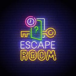 Escape Room neon sign, bright signboard, light banner. Quest Room  logo neon, emblem. Vector illustration