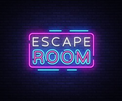 Escape Room neon signs vector. Escape Room Design template neon sign, light banner, neon signboard, nightly bright advertising, light inscription. Vector illustration