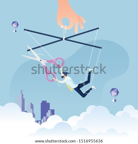 Escaping a controlling - Businessman as a puppet on a string cuts himself away from manipulative control to freedom