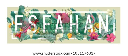 Esfahan City Typographic Floral Framed Vector Card Design