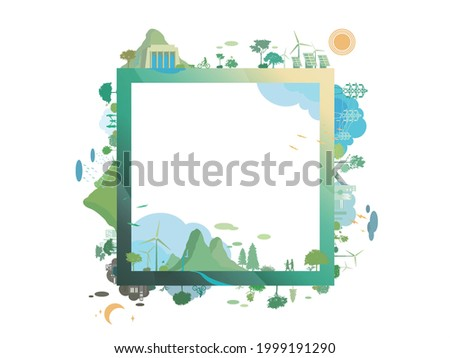 ESG and ECO friendly community frame shows by the green environmental and cozy people its suit to add words and picture inside about ESG - Environmental, Social,Governance vector illustration EPS10