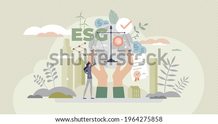 ESG as environmental social governance business model tiny person concept. Sustainable and green company resources usage commitment with responsible attitude to nature and future vector illustration.