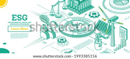 ESG Concept of Environmental, Social and Governance. Vector Illustration. Sustainable Development. Isometric Outline Concept. Green Color. Alternative Energy. Talking People.