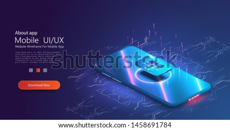 eSIM card chip sign. Embedded eSIM concept. New mobile communication technology. Futuristic projection sim card. 5G new wireless internet wifi connection. High speed communications phone. Vector