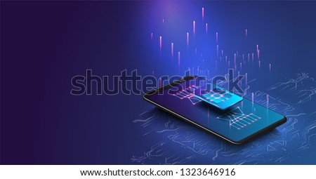 eSIM card chip sign. Embedded SIM concept. New mobile communication technology. Futuristic projection sim card Vector illustration