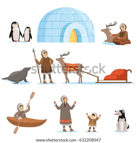 Eskimo characters in traditional clothing and their arctic animals. Life in the far north. Set of colorful cartoon detailed vector Illustrations