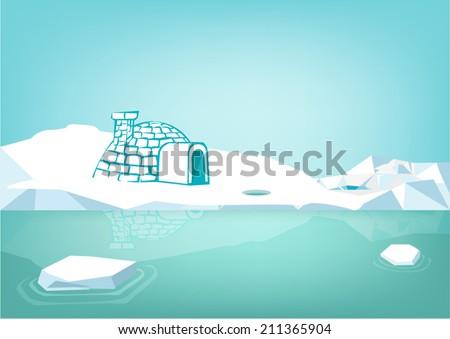 eskimo igloo home and icebergs