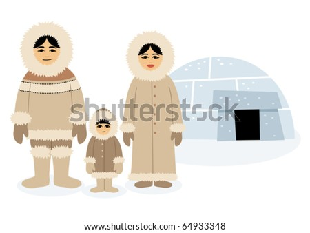 Eskimos: Each character as well as the igloo is grouped separately, so you can easily rearrange the composition in the vector file. No transparency and gradients used.