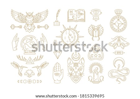 Esoteric and mystic linear symbols set vector illustrations. Mythical cat, crescent moon, witchcraft emblems and other line art elements isolated on background for magic logo or poster decoration. Stock photo ©