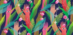 Esoteric hands arms palms and eyes with flowers and jungle modern seamless pattern design. Colorful vivid meditative mysterious graphic design seamless pattern background. Spiritual hands palms.
