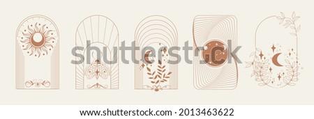Esoteric Linear Boho Logos and Frames elements. Boho arch frame with celestial moth, moon, flower. Mystical vector illustration Zdjęcia stock ©