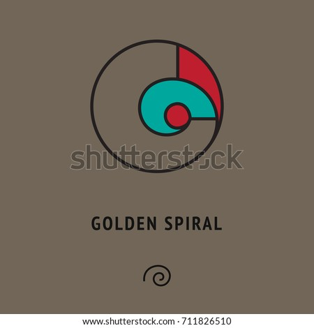 Esoteric symbol of golden ratio. Geometric sign of Fibonacci section, logarithmic spiral. Philosophical mathematical logo +different icon below. Philosophical illustration, abstract wallpaper, poster