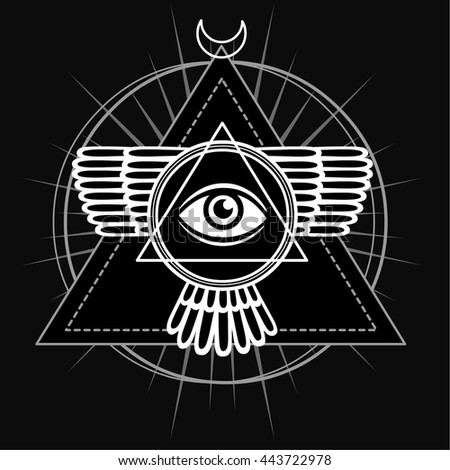 Vector Images Illustrations And Cliparts Esoteric Symbol Winged