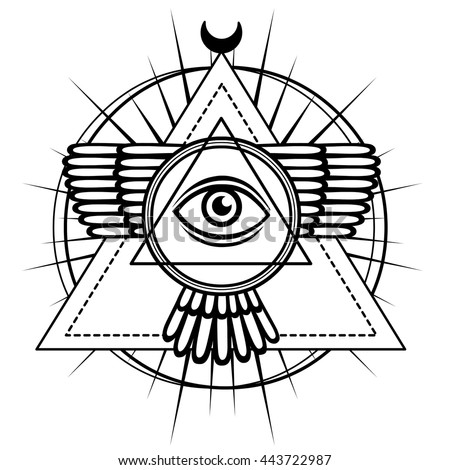 Esoteric Symbol Winged Pyramid Knowledge Eye Sacred Geometry The Monochrome Drawing Isolated
