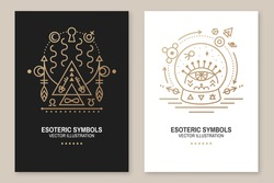 Esoteric symbols poster, flyer. Vector. Thin line geometric badge. Outline icon for alchemy, sacred geometry. Mystic, magic design with portal to another world and glass ball with all-seeing eye