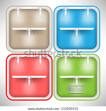esp10 vector illustration set of colorful empty shelves with light