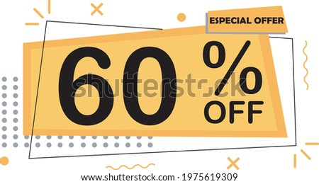 ESPECIAL OFFER 60% DISCOUNT SIGN BANNER ART VECTOR YELLOW AND ORANGE SHAPES  ストックフォト ©