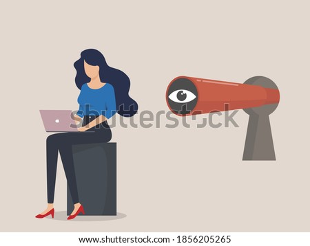 Espionage, employee search, Internet stalking, Young female character working on a laptop, Spyglass in keyhole. Stock photo ©