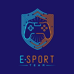 Esport logo icon outline stroke in shield frame, Joypad or Controller gaming gear with hand design illustration isolated on dark blue background with Esport Team text and copy space, vector eps 10