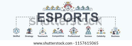 Esports banner web icon for business game and futuristic, Strategy, teamwork, professional, competitive, and success. Minimal vector infographic.