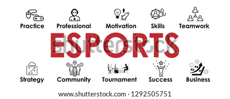 ESports banner with web Icons set for websites and social media business design: Skills, Teamwork, Practice, Motivation, Tournament, Community, Strategy, Success. Vector E Sports icons collection, set