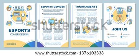 Esports brochure template layout. E sports devices, tournaments. Flyer, booklet, leaflet print design with linear illustrations. Vector page layouts for magazines, annual reports, advertising posters