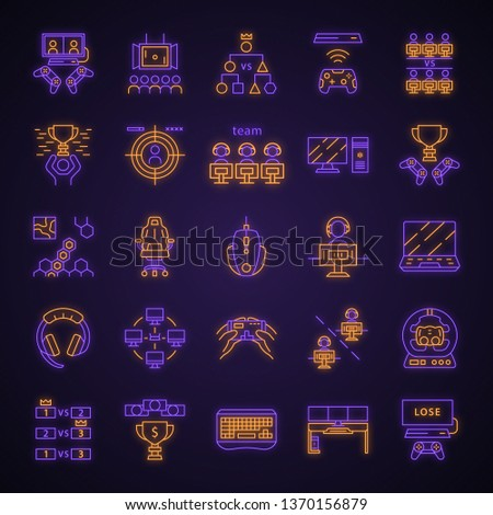 Esports neon light icons set. Gaming device and gadgets. Video game tournaments. Glowing signs. Vector isolated illustrations