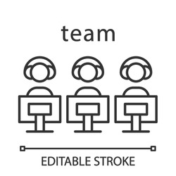 Esports team linear icon. Gamers group. Teamwork. Command for competition. Video games tournament. Thin line illustration. Contour symbol. Vector isolated outline drawing. Editable stroke