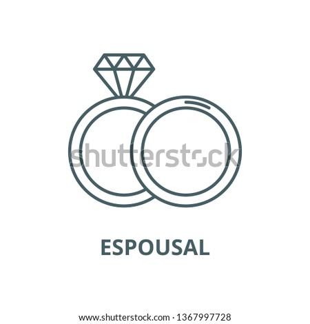 Espousal line icon, vector. Espousal outline sign, concept symbol, flat illustration