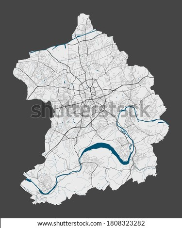Essen map. Detailed map of Essen city administrative area. Cityscape panorama. Royalty free vector illustration. Linear outline map with highways, streets, rivers. Tourist decorative street map. Stock foto ©
