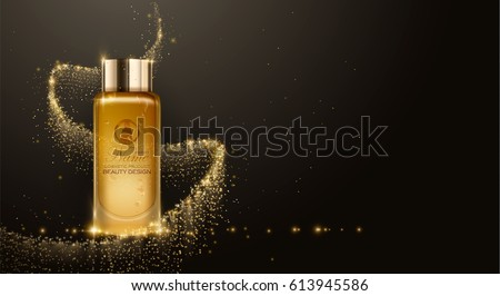Essence contained, ads, gold makeup glass bottle template. Design cosmetics product advertising, blure and bokeh background, sparkling effect. 3d Vector illustration for cream, soups, foams, lotions.