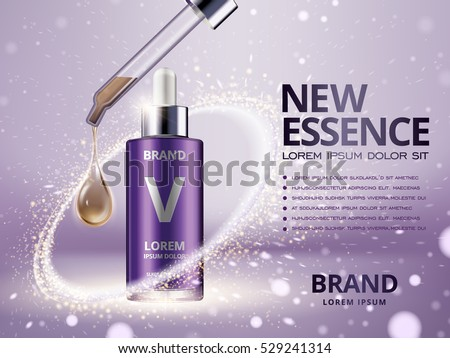 essence contained in purple droplet bottle surrounded by light ring with purple background, 3d illustration