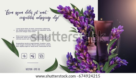 Essential cream oil ads: glass bottle, purple lavender and salvia with leaves, cosmetic product skincare banner.