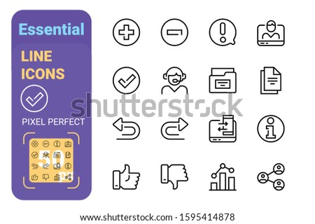 Essential line icons set vector illustration. Trendy modern icons for website and brochures and mobile app. Flat thin linear collection design with perfect pixel