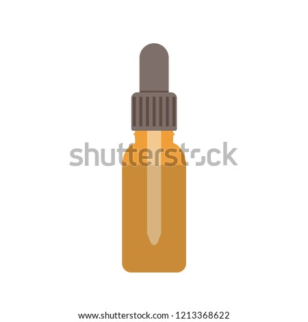 Essential oil bottle with pipette flat vector illustration. Brown medicine dropper isolated. Bottle with pipette for drops. Cosmetic skincare product. Liquid medication symbol. Pharmaceutic container