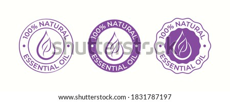 Essential oil drop and leaf icon for beauty and skincare natural product certificate tag. 100 percent essential oils sticker logo for body lotion, cream and shampoo moisturizer, spa wellness fragrance