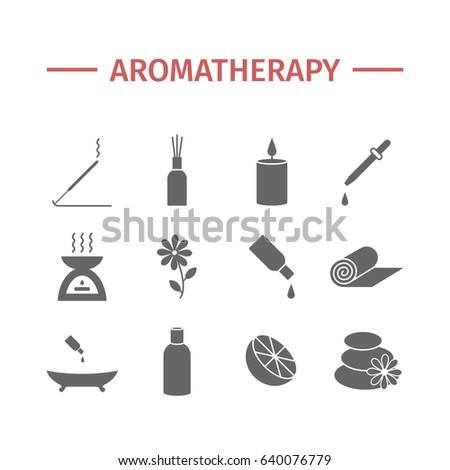 Essential Oil icon. Aromatherapy oils set. Vector illustration