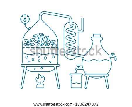 Essential oil making. Distillations aromatic oils production Perfumery substances Distiller equipment. Contour blue line vector.