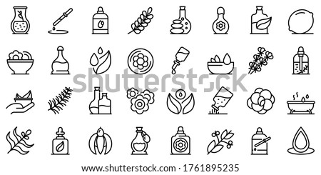 Essential oils icons set. Outline set of essential oils vector icons for web design isolated on white background