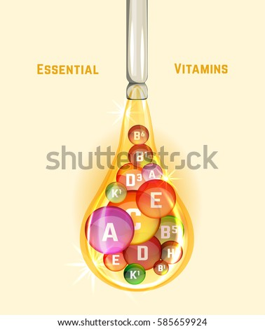Essential vitamin complex. Beautiful creative background with different vitamins in glossy pills inside the oily drop. Vector illustration in bright colours. Medical, dietary and pharmaceutical image.