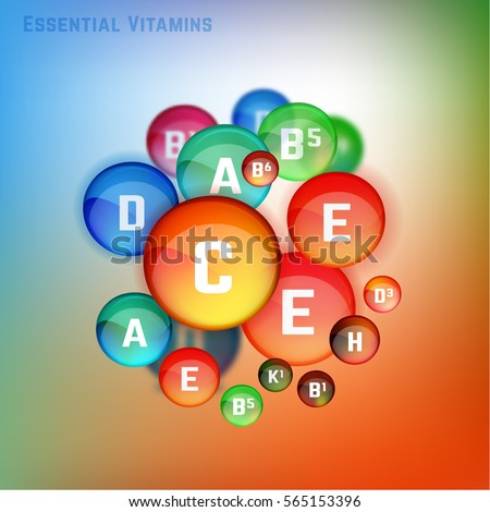 Essential vitamin complex. Beautifyl creative background with different colourful vitamins in glossy pills. Vector illustration in bright colours. Medical, dietary and pharmaceutical image.