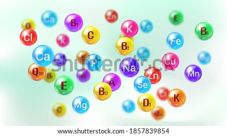 Essential vitamins and minerals. Multi Vitamin complex. Poster with different color glossy vitamin and mineral pills capsules.