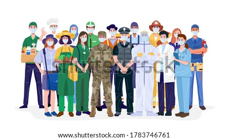 Essential workers, Various occupations people wearing face masks. Vector