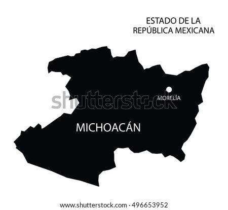 Michoacan, Mexico, vector map silhouette isolated on Mexico map ...