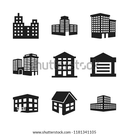 estate icon. 9 estate vector icons set. house, building construction and building icons for web and design about estate theme