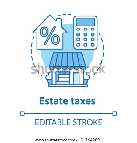 Estate taxes blue concept icon. Financial levy idea thin line illustration. Inheritance tax calculation. Paying percent for assets, money and property. Vector isolated outline drawing. Editable stroke